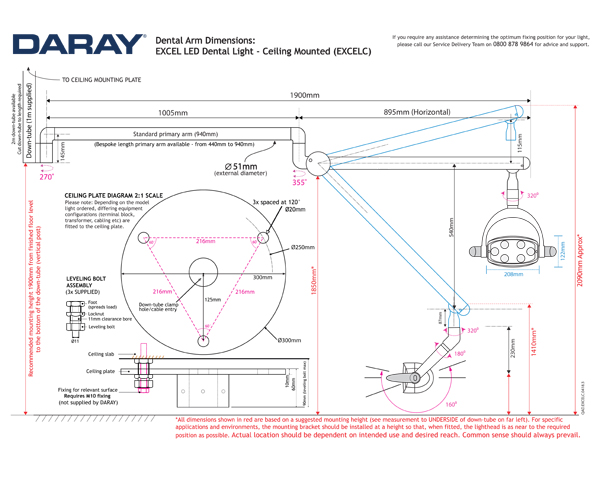 The Daray EXCEL Ceiling Mounted Technical Diagram