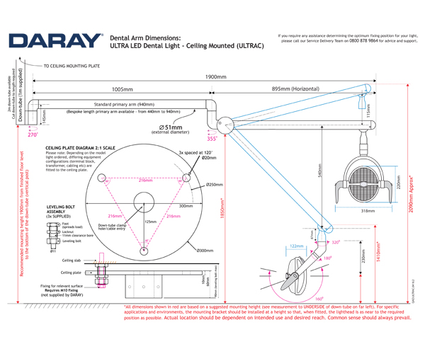 The Daray ULTRA Ceiling Mounted Technical Diagram