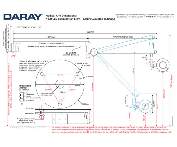 The Daray X400 Ceiling Mounted Technical Diagram