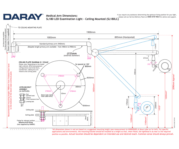 The Daray SL180 Ceiling Mounted Technical Diagram