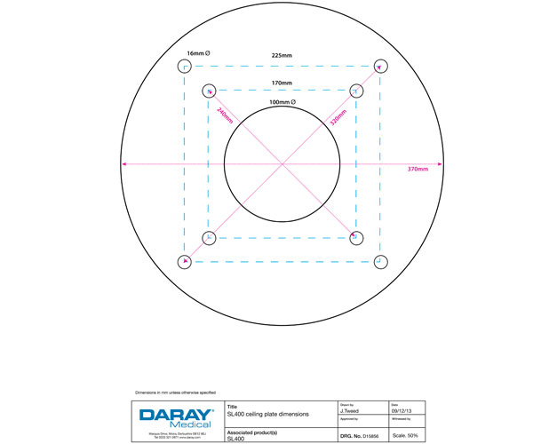 SL400 Ceiling Plate Dimensions