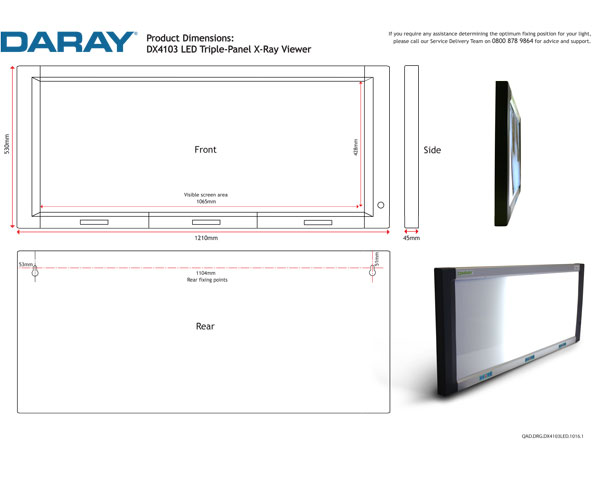 DX4103 LED Triple-Panel X-Ray Viewer