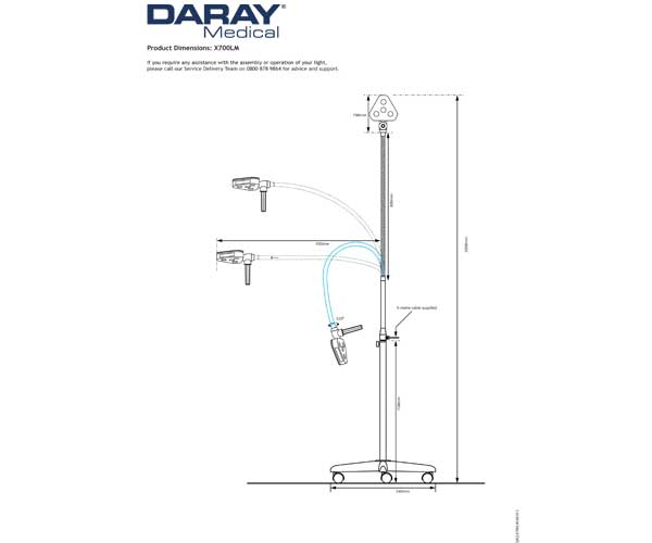 The Daray X700 Mobile Dimensional Diagram