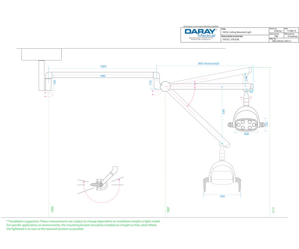 Daray Excel Ceiling Technical Diagram