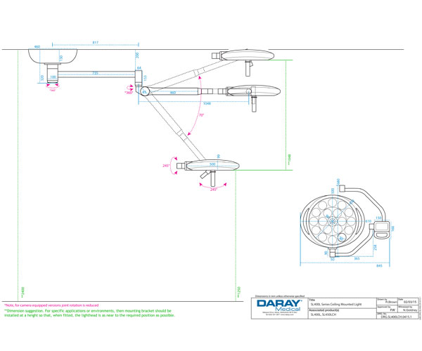 SL400 Ceiling Mounted Light Technical Diagram
