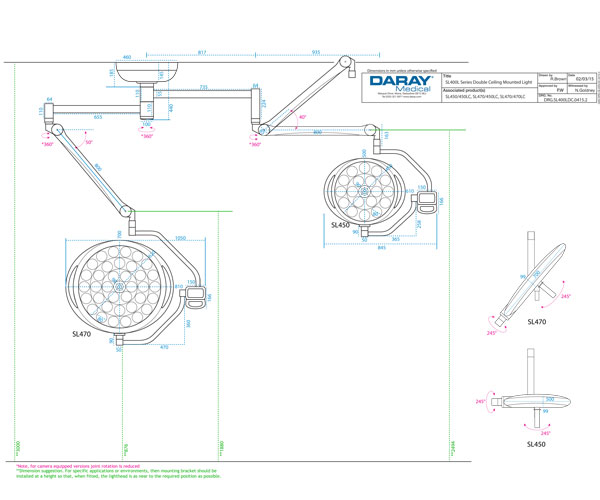 SL400 Double Ceiling Mounted Light Technical Diagram