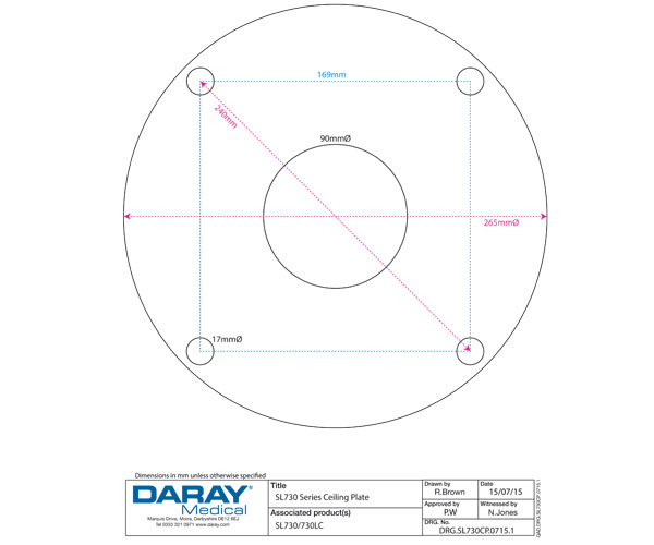 SL730 Ceiling Plate dimensions