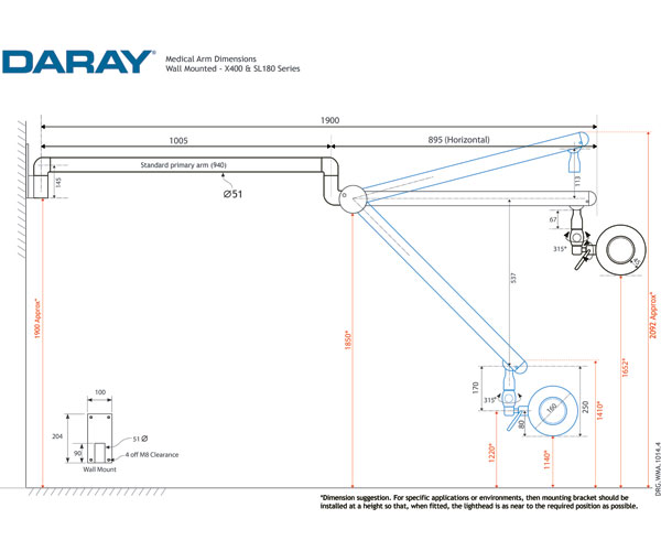 SL180 Wall Mounted Technical Diagram
