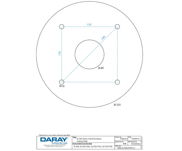 Ceiling Plate Dimensions