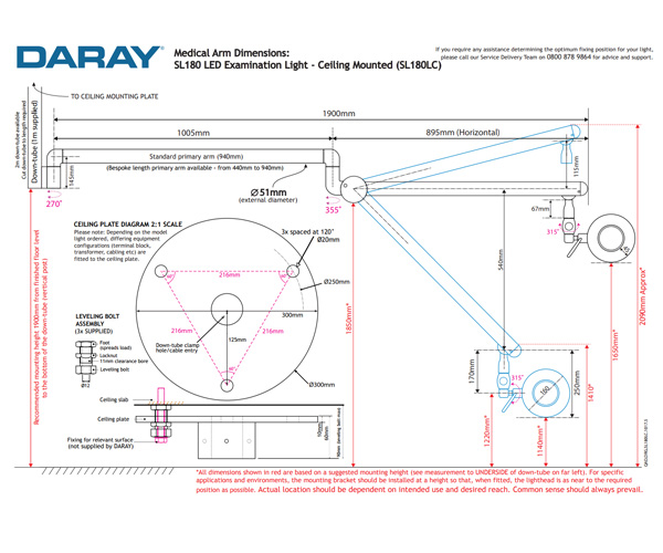 SL180 Ceiling Mounted Technical Diagram